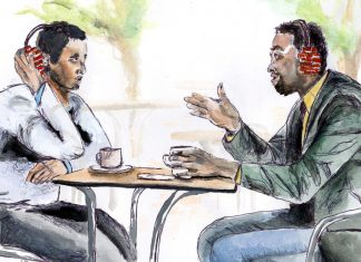 Illustration of People Talking at Table