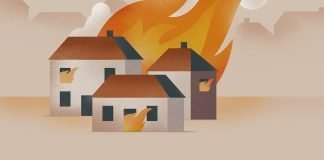 house on fire illustration
