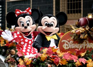 Disney's Mickey and Mini Mouse participate in the Thanksgiving Day Parade