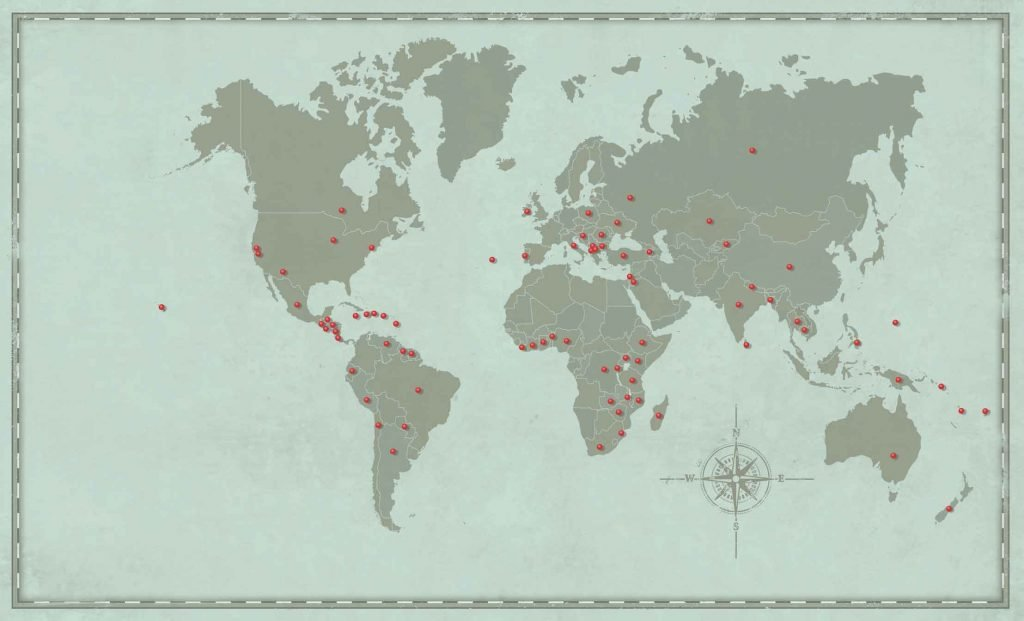 Map of the places PLNU students have sent Loveworks teams around the world.