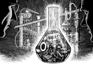 Men Looking At Science Lab