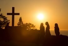 Sunset at PLNU with cross