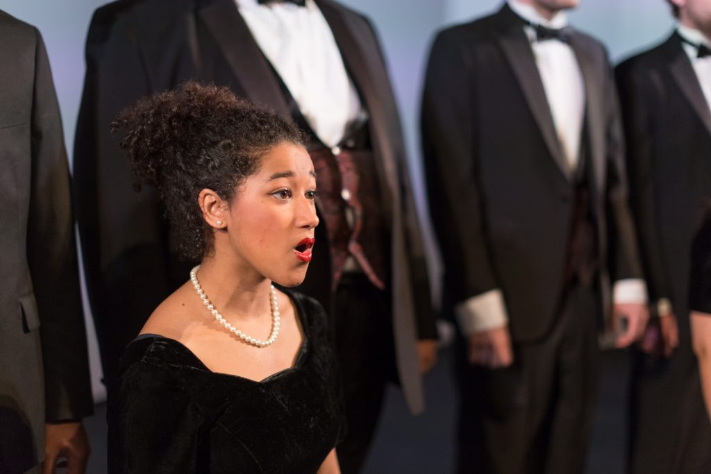 A member of the choir singing.