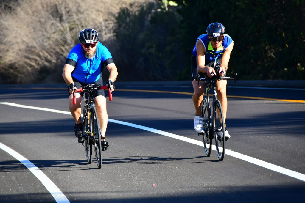David Carlson competes in the bike portion of a triathlon.