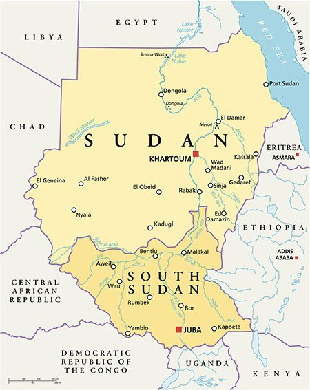 A detailed map of Sudan and South Sudan.