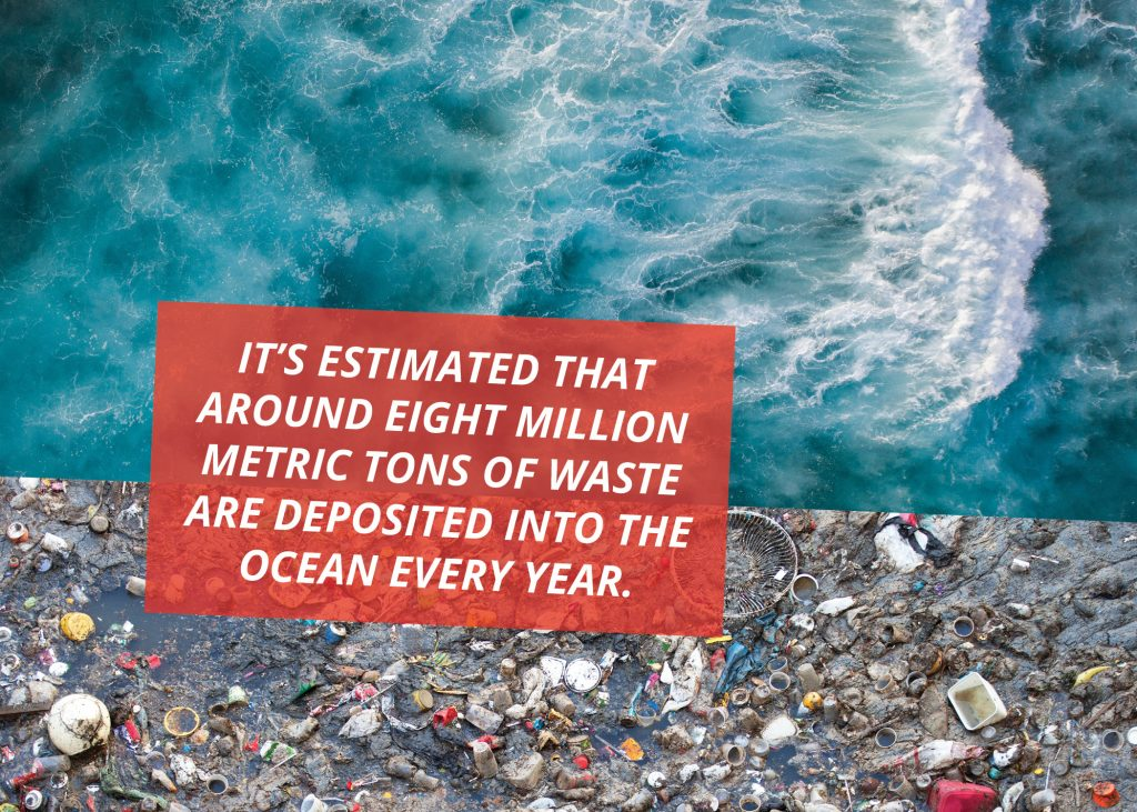 It's estimated that around eight million metric tons of waste are deposited into the ocean every year.