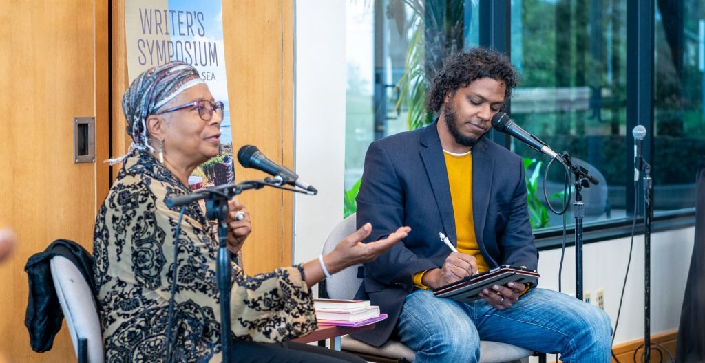 Alice Walker speaking to students and faculty
