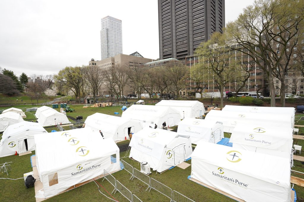 An image of the tents set up in New York