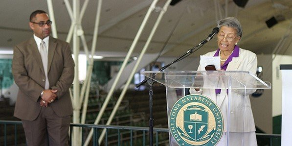 Bennye Seraile spoke at the commemoration of the 50th Anniversary of Dr. King's Golden Gymnasium Visit.
