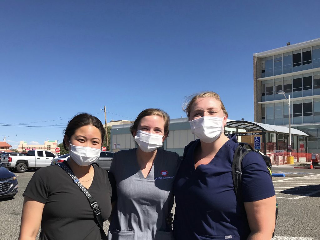 Loh, Stone, and Johnson at COVID care force in in Gallup.