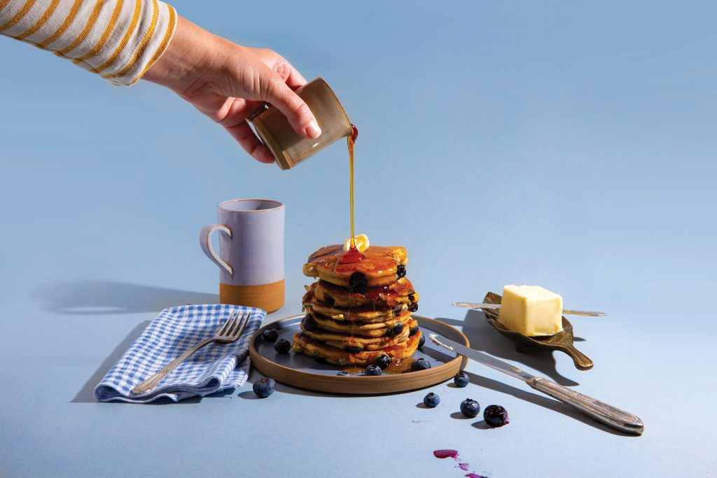 Blueberry Cashew Pancakes with syrup